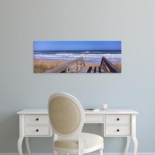 Easy Art Prints Panoramic Image 'Boardwalk, PlaylindBeach, Canaveral National Seashore, Titusville, Florida' Canvas Art