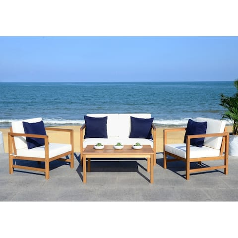 SAFAVIEH Outdoor Montez 4-piece Chat Set w/ Accent Pillows