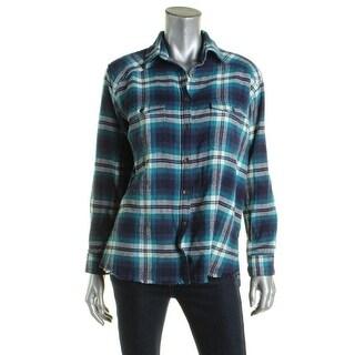 Billabong Womens Button-Down Top Flannel Plaid