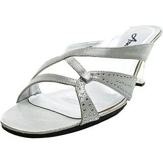 Annie Marlene Women WW Open Toe Synthetic Silver Slides Sandal