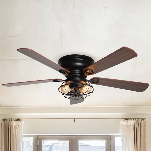 """48"""" Low Profile Metal 5-Blade Ceiling Fan with Remote. Opens flyout."""