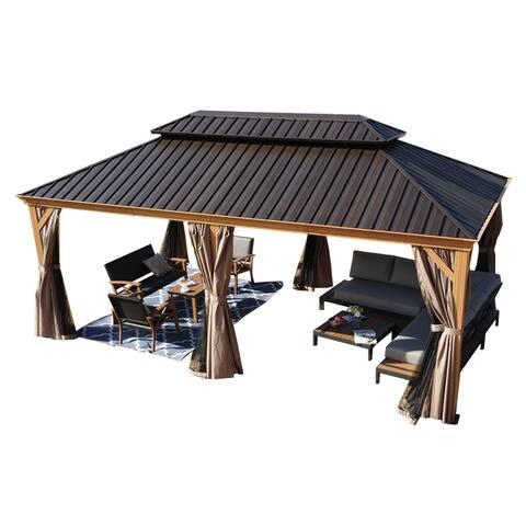 Kozyard Apollo Wood Looking 12ft x 20ft Aluminum Hardtop Gazebo with Galvanized Steel Roof and Mosquito Net