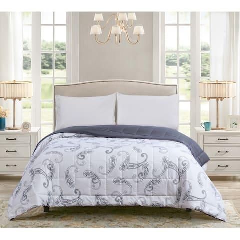 All Seasons Paisley Print Down Alternative King Comforter 110x96 Silver