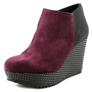 Studio Pollini Lug Sole Wedge Women Open Toe Suede Burgundy Wedge Heel