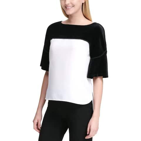 Calvin Klein Womens Blouse Velvet Colorblock