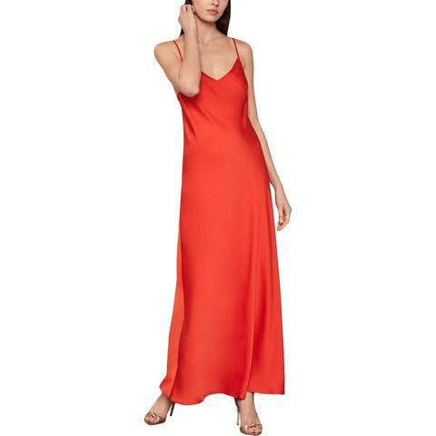 BCBGMAXAZRIA Womens Satin Strappy Slip Dress - Dark Orange