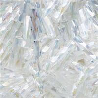 Toho Glass, Twisted Bugle Beads Size 3 9x2mm, 10 Grams, Transparent Rainbow Crystal