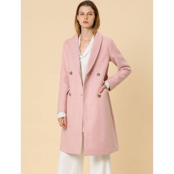 Allegra K Women/'s Double Breasted Belted Lapel Long Wool Coat