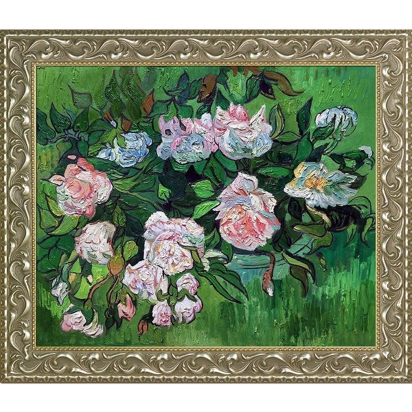 Still Life, Pink Roses by Vincent Van Gogh Framed Hand Painted Oil on Canvas
