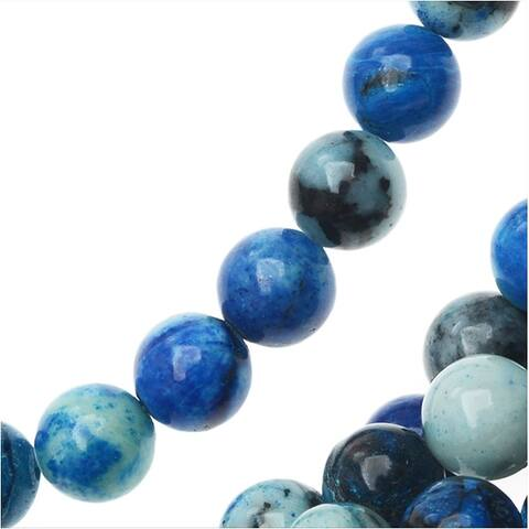 Ocean Jasper Gemstone Beads, Round 6mm, 15.5 Inch Strand, Aqua Blue