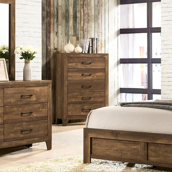 Furniture of America Loa Transitional Light Walnut 5-drawer Chest. Opens flyout.