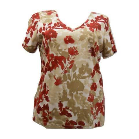 KAREN SCOTT Womens Red Floral V Neck T-Shirt Top Size 1X