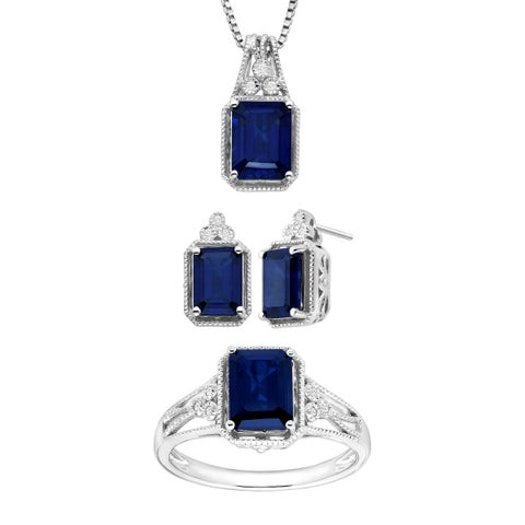 7 1/10 ct Created Sapphire Pendant, Earring & Ring Set with Diamonds in Sterling Silver