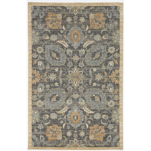 Copper Grove Wool Distressed Traditional Blue Area Rug