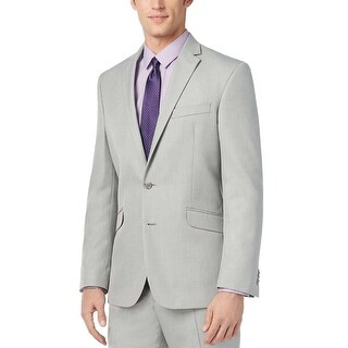 Kenneth Cole Reaction Mens Classic Fit Pindot Sportcoat 44 Long 44L Grey Jacket