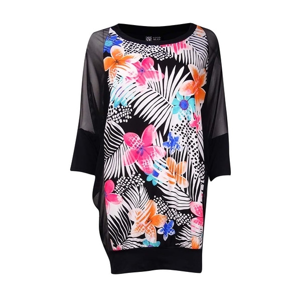 Coco Reef Women's Mesh Sleeve Floral Printed Coverup - cast black