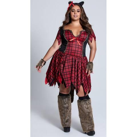 Plus Size Frisky Werewolf Costume, Hoty Werewolf Costume - Grey