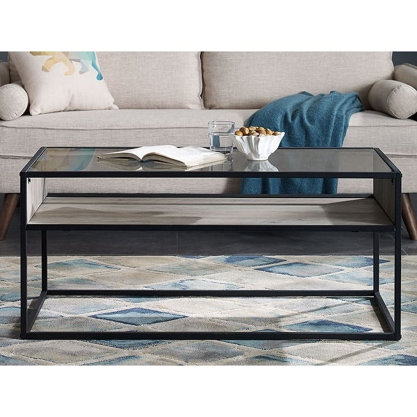 "Glass And Metal Coffee Table With Shelf: Shop Offex 40"" Metal And Glass Coffee Table With Open"