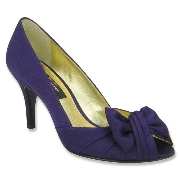 Nina NEW Purple Women's Shoes Size 5.5M Forbes Satin Open Toe Pump