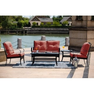 Link to Moda New 5-Piece Steel Outdoor Garden Chat Set with Coffee Table Similar Items in Outdoor Sofas, Chairs & Sectionals