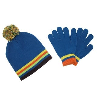 CTM® Kids' Knit Striped Hat and Gloves Winter Set - One Size