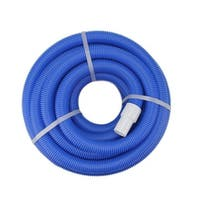 """Blue Blow-Molded PE In-Ground Swimming Pool Vacuum Hose with Swivel Cuff - 25' x 1.5"""" - White"""
