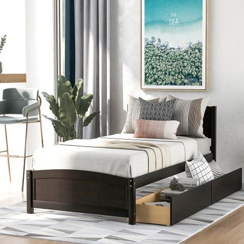 Twin size Platform Bed with Two Drawers, Espresso