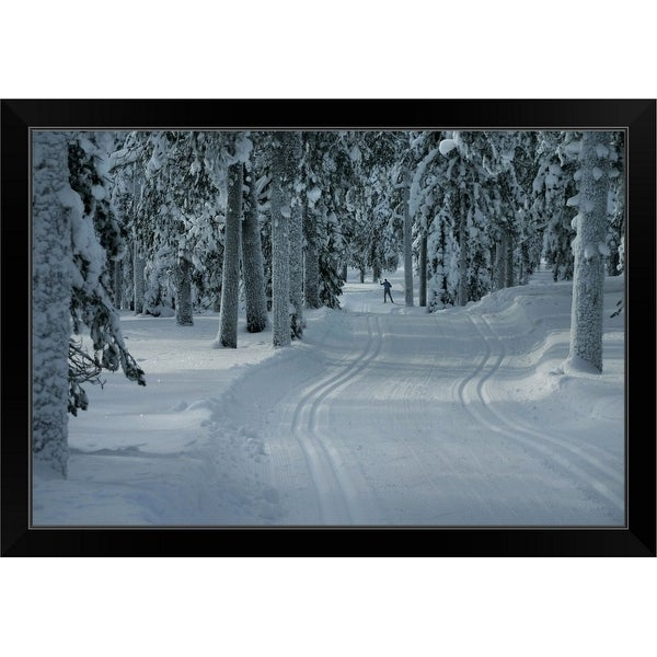 """""""Cross country skier on a forest snow trail"""" Black Framed Print"""