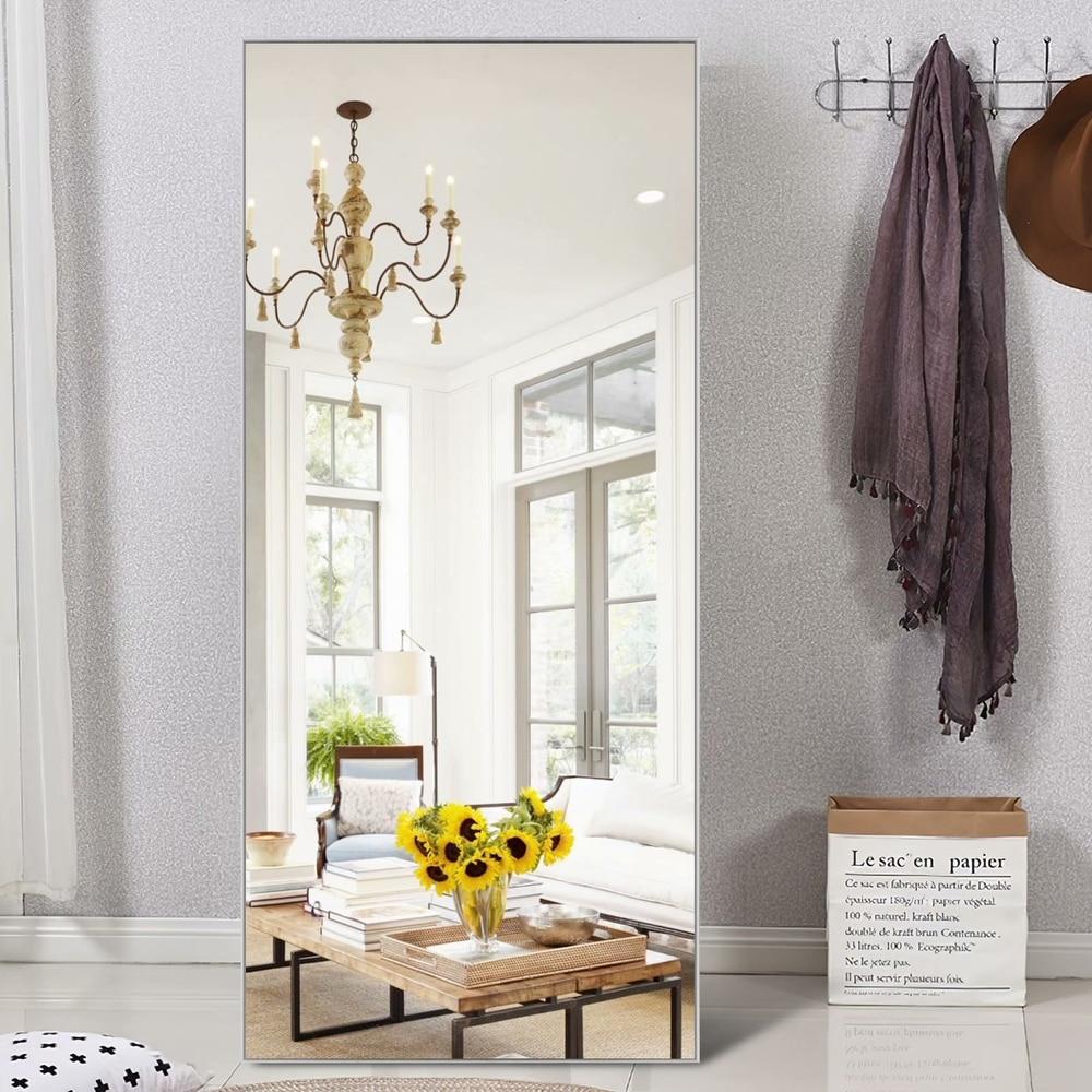 Shop Modern Aluminum Alloy Thin Framed Full Length Floor Mirror - 59X35 - Silver from Overstock on Openhaus