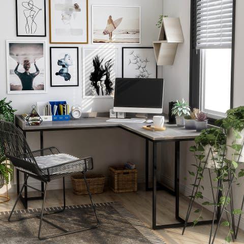 Furniture of America Magnus Industrial L-Shape Desk With USB Port