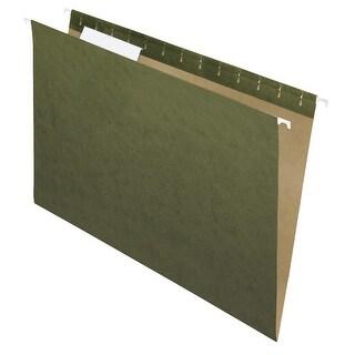 School Smart Hanging File Folder, Legal, Standard Green, 1/3 Cut Tabs, Pack of 25