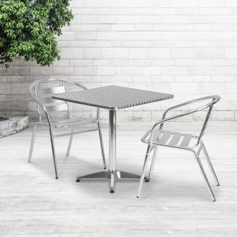 """27.5"""" Square Aluminum Smooth Top Indoor-Outdoor Table with Base - 27.5""""W x 27.5""""D x 27.5""""H"""