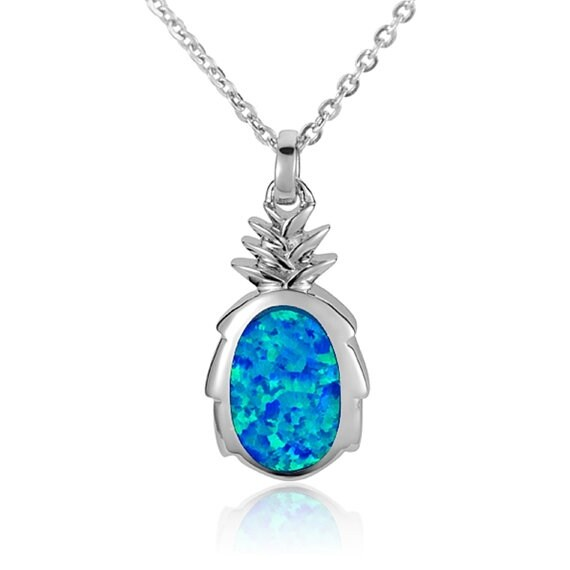 "Pineapple Necklace Opal Sterling Silver Pendant 18"" Chain"