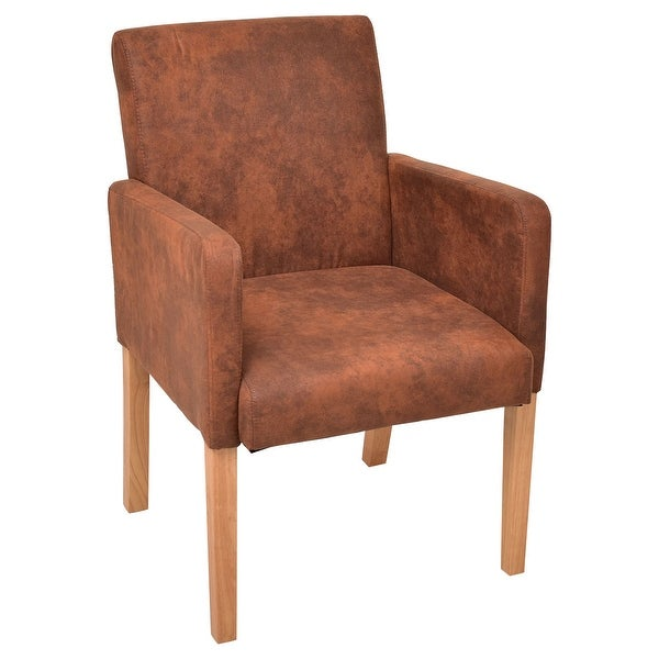 Accent Dining Room Chairs: Shop Costway Brown Fabric Armrest Dining Chair Upholstered