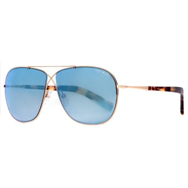 bb62949d92d2 Tom Ford April TF393 28X Rose Gold Sky Blue Mirror Aviator Sunglasses -  rose gold -