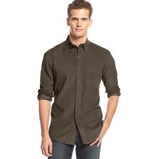Club Room Long Sleeve Corduroy Button Down Shirt Ash Brown X-Large