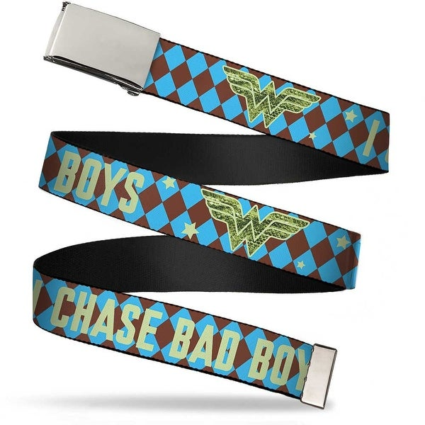 Blank Chrome Buckle Wonder Woman Logo I Chase Bad Boys Diamonds Blue Web Belt