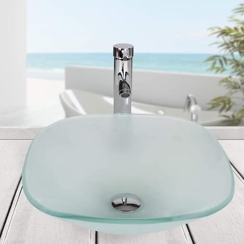 Matte Tempered Glass Vessel Bathroom Sink and Faucet Combo - 16.7*16.7*5.4