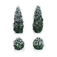 "Department 56 Snow Village Set of 4 ""Tudor Gardens Shrubs"" Accessory #4038843 - green"