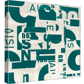 """PTM Images 9-98825  PTM Canvas Collection 12"""" x 12"""" - """"Collaged Letters Dark Green C"""" Giclee Abstract Art Print on Canvas"""
