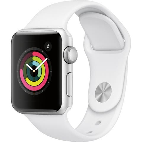 Apple Watch Series 3 (GPS) 38mm Silver Aluminum Case with White Sport Band - Silver Aluminum - Silver Aluminum