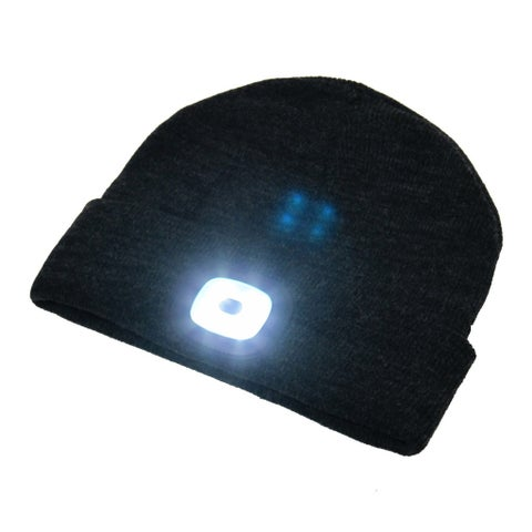 Beamie Hat With Built-In Rechargeable LED Head Lights, Great for Hiking, Walking at Night, Camping