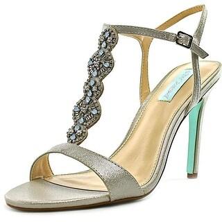 Betsey Johnson Chloe Women  Open Toe Canvas Silver Sandals