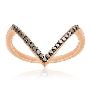 Brand New 0.25 Carat Round Brilliantcut Black Diamond Wishbone Ring