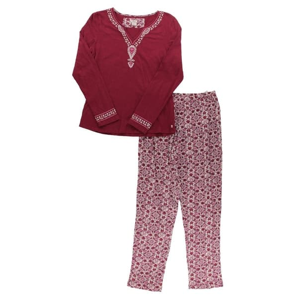 Lucky Brand Womens Pajama Set 2pc Embroidered Overstock 19839831