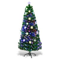 Costway 5FT Pre-Lit Fiber Optic Artificial Christmas Tree w/Multicolor Lights Snowflakes - Green