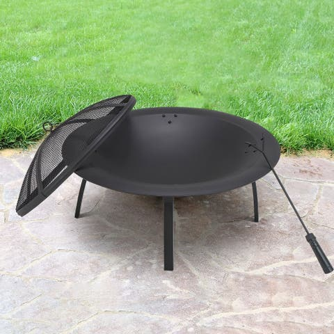 29''fire Pit With Foldable 4 Legs
