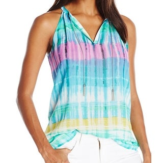 Calvin Klein NEW Blue Womens Size Small S Tie-Dye Stretch Tank Top