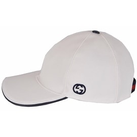 NEW Gucci Men's 387554 White Canvas Interlocking GG Web Baseball Cap Hat M