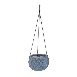 "5.5"" Faceted Slate Gray Round Hanging Ceramic Planter"